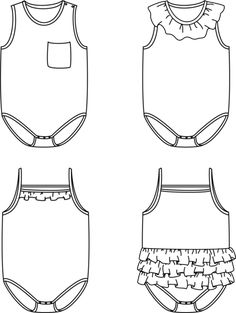 Duo Malmö + Malaga bodysuits - Baby 1M/4Y - PDF Sewing Pattern – Ikatee Swimsuit Fabric, Baby Swimsuit, Ruffle Swimsuit, Tank Top Bodysuit, Baby Bodysuit, Malm, Pdf Sewing Patterns, Baby Patterns, Types Of Collars
