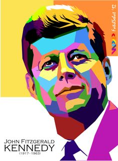 John F Kennedy Pop Art Portraits, Portrait Art, Vector Portrait, Arte Pop, Poster Color Painting, Vector Pop, Stoner Art, Pop Art Illustration, John F Kennedy