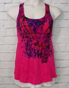 NEW Womens DECREE Pink Sublimated Floral Criss-Cross Back  Tank Top Size Medium #Decree #TankTop #Casual