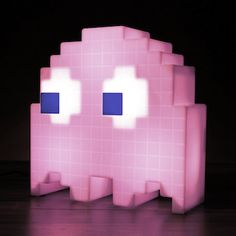 Pixelated Pac-Man Ghost lamp