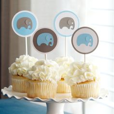 Baby Shower Decoration Boy Elephant Cupcake Toppers Blue Gray on Etsy, $12.00