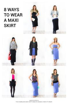 8 ways to wear a maxi skirt throughout all seasons. Winter Spring Summer and Fall maxi skirt outfits