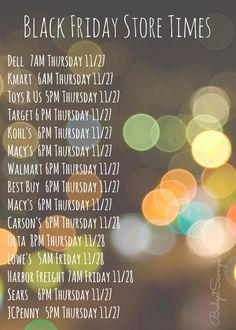 Black Friday Store Times 2014
