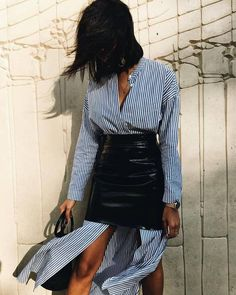 $175 The Perfect Summer Skirt Black Patent Leather Vinyl High Waisted Mini Skirt Teamed With Cut Blue And White Striped Long Sleeved Blouse Tumblr