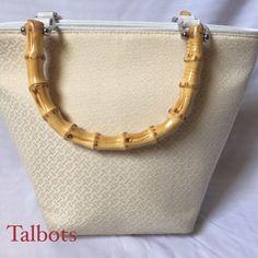 Talbots Logo Fabric Bamboo Purse