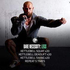 Bare Necessity Leg Workout If you own a kettlebell, there is absolutely no reason why you can't workout. The Bare Necessity Leg Workout will work your entire lower body. Kettlebell Deadlift, Kettlebell Circuit, Kettlebell Swings, Kettlebell Challenge, Kettlebell Routines, Fitness Workouts, Fitness Tips, Bare Fitness, Muscles In Your Body