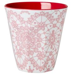 Medium Melamine Cup Two Tone with Pink Lace Print