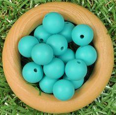 Round 12mm Silicone Bead 20pk - Turquoise - Silicone Beads Australia™