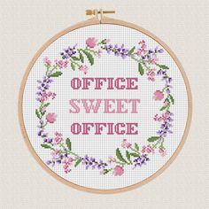Office sweet office cross stitch pdf pattern Lavender