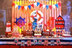Lucas' Popeye the Sailorman Themed Party - Dessert Spread 1st Birthday Themes, 1st Birthday Parties, Birthday Ideas, Party Desserts, Nautical Party, Dessert Buffet, First Birthdays, Baby Shower, Sweets