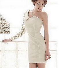 Women's One Shoulder Lace Sleeve Bodycon Dress – USD $ 27.29