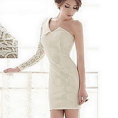 Women's One Shoulder Lace Sleeve Bodycon Dress – USD $ 27.29