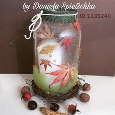 Mit GONIS-Strukturgel und bunten Herbstblättern  habe ich diese Laterne in Frostoptik gestaltet.
