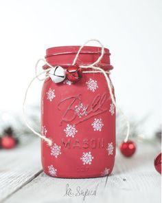 DIY snowflake stamped mason jar holiday decor with DecoArt Chalky Finish acrylic paint.