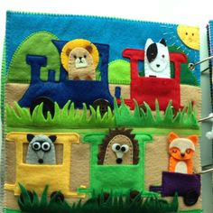 Quiet book for Tamim: Animal finger puppet page #softbook #feltbook #quietbook #kidstoys #stuffsusiemade #handmade