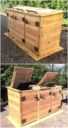 Popular Reclaimed Wood Furniture And Decor Ideas For Living Green - recycling containers Trash Can Storage Outdoor, Garbage Can Storage, Garbage Shed, Storage Bins, Wood Patio Furniture, Diy Outdoor Furniture, Reclaimed Wood Furniture, Furniture Decor, Repurposed Furniture