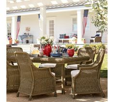 Saybrook All-Weather Wicker Rectangular Fixed Dining Table & Chair Set | Pottery Barn, $2,108