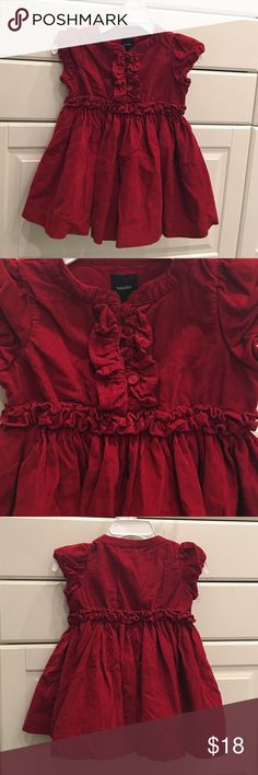 GAP red baby girl dress! GAP velvet look red dress with layered skirt and lots of details!  So adorable.  Worn one time for Christmas.  Perfect condition.  ❌no trades❌ GAP Dresses Formal
