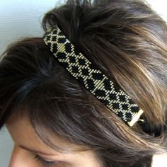 Headband tissé / bijou de tête tissé / bandeau cheveux / serre tête  motif géométrique en perles de rocailles miyuki de 2mm