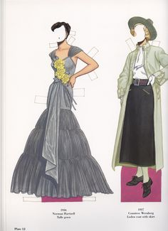 Norman Hartnell Tulle gown Countess Wernberg Loden coat with skirt 1937 Fashion Illustrations, Fashion Sketches, Norman Hartnell, Art Deco Posters, Tulle Gown, Diy Clothes, Paper Dolls, 1930s, Houses