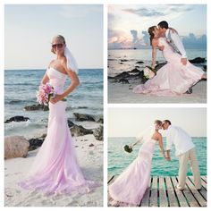 Pink wedding dress for a beach destination wedding! Cute!