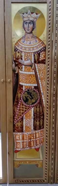 """Helen """" icon, wood on entry door. Artwork by Ioannis K. Byzantine Art, Thessaloniki, Mural Art, Entry Doors, Artworks, Greece, Wood, Painting, Greece Country"""