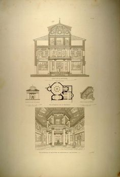1860 Engraving Interior Lateran Baptistery Octagon Rome - ORIGINAL RM1 Byzantine Architecture, Church Architecture, Octagon House, Garage Addition, Drawing Sketches, Drawings, Early Christian, Renaissance, Rome