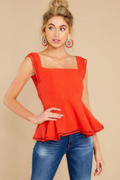 Fierce Red Top - Eyelet Basic Cropped Tank Top - Tops - $46.00