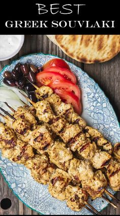 Greek Chicken Souvlaki Recipe with Tzatziki This homemade chicken souvlaki recipe takes you to the streets of Athens! Complete with the best souvlaki marinade; instructions for indoor or outdoor grilling; and what to serve with your souvlaki. Recipe from Kabob Recipes, Grilling Recipes, Cooking Recipes, Healthy Recipes, Mediterranean Dishes, Mediterranean Diet Recipes, Chicken Kabob Marinade, Greek Marinade For Chicken, Greek Chicken Souvlaki
