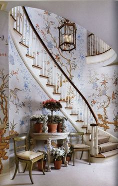 A staircase with chinoiserie. A brilliant idea for home decor and interior design.