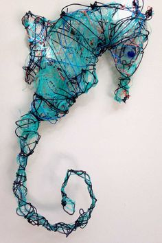 Ocean trash art art of sea horse - Sculpture - Print the sulpture yourself - art of sea horse The Effective Pictures We Offer You About Ocean trash art pictures A qual Sea Sculpture, Textile Sculpture, Art Textile, Sculptures, 3d Art Projects, Recycled Art Projects, Sea Life Art, Sea Art, Tattoos 3d