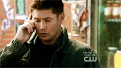 "Dean with a phone...and an ""aww, hell, no"" expression. (GIF)"
