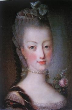 A pretty portrait of the young Marie Antoinette, painted in around 1774 by Jean Martial Frédou, an artist who was first painter for her brother in law, the Comte de Provence from 1776. It's a lovely painting but as usual, the little Queen complained that it failed to capture a likeness.