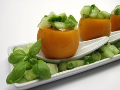 Apricots with Cucumber Melon Salsa
