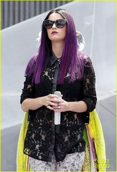 I love this lace top Katy Perry has on. I just love her purple hair too!