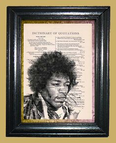 Jimi Hendrix Flower Power Era  Vintage Dictionary by CocoPuffsArt, $9.99