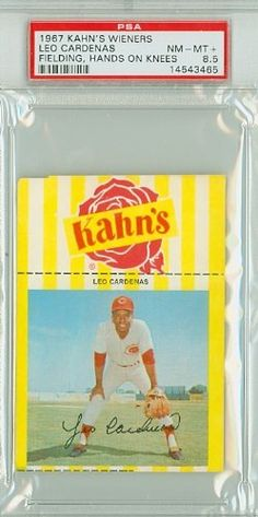 1967 Kahn's Weiners 7 Leo Cardenas Reds PSA 8.5 Near-Mint to Mint Plus by Kahns. $65.00. This vintage card featuring Leo Cardenas is # 7 from the 1967 Kahn's Weiners set