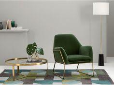 Frame, fauteuil, velours vert gazon