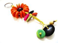 Orange Flower Keyring made with tagua. by IngridFonseca on Etsy, $14.00