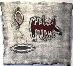 Hand felted merino wool; metallic silk, hand stitched