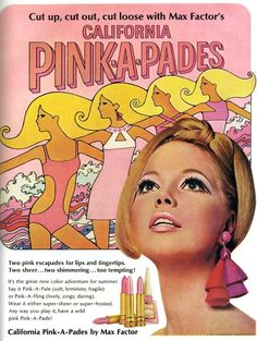 Max Factor cosmetics advert, 1967, for California Pink-A-Pades