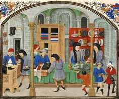 A depiction of a medieval market. While businessmen in the Middle Ages did amass personal fortunes, open greed was unacceptable to the community and could even lead to murder. Medieval Market, Medieval World, Medieval Town, Medieval Manuscript, Illuminated Manuscript, Historical Fiction Authors, Medieval Paintings, Late Middle Ages, Medieval Clothing
