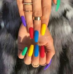 Everythings about Light Colour Nails For You ! 47 Most Eye-catching And Gorgeous Light Colour Nails Design With Different Colors For Beginner - Nail Idea Lιɠԋƚ Cσʅσυɾ Nαιʅʂ ? Colourful Acrylic Nails, Summer Acrylic Nails, Best Acrylic Nails, Summer Stiletto Nails, Summer Nails Almond, Almond Nails, Two Color Nails, Nail Colors, Different Colour Nails