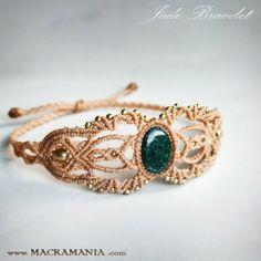 Jade macrame bracelet healing stone macrame by MacramaniaShop