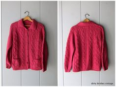 Pink Wool Cardigan Sweater Chunky Knit Button Up Fishermans Sweater with Pockets S/M Wool Cardigan, Vintage Sweaters, Button Up, Turtle Neck, Pockets, Knitting, Trending Outfits, Pink, Etsy