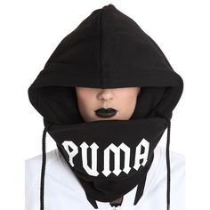 Fenty X Puma Women Printed Cotton Hood ($98) ❤ liked on Polyvore featuring tops and black
