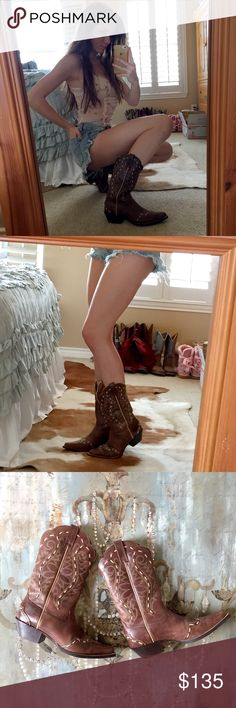 ⏰1HR SALE⏰Cowgirl Boots These Ariat cowgirl boots are a size 7.5B, but I'm a 7 and they fit great!🎀 These boots have only been worn to a few rodeos and are in GREAT CONDITION!💕 They have a beautiful unique off white stitching around the whole boot, and on the bottom of the boot has like a rose flower pattern which I thought was super cute!🌹 The heel is about 1 and a half inches tall and the sole of the boot makes it a well rounded boot so you could go to a dance hall in these or to a…