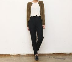 pants + oxford shoes + cardigan + top : minimalist