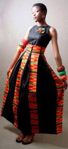 KENTE PANELS ON BLACK - perfect! ◇ Latest African Fashion, African Prints, African fashion styles, African clothing, Nigerian style, Ghanaian fashion, African women dresses, African Bags, African shoes, Nigerian fashion, Ankara, Aso okè, Kenté, brocade DK