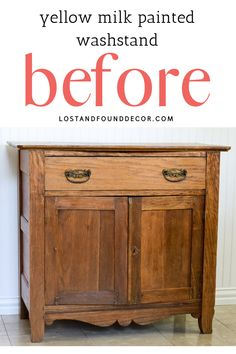 I love using milk paint on these old antique washstands. I usually get the perfect amount of chipping and the milk paint adds so much authentic character! Yellow Painted Furniture, Milk Paint Furniture, Diy Furniture Projects, Home Decor Furniture, Furniture Makeover, Diy Kitchen Cabinets, Painting Kitchen Cabinets, Antique Furniture Restoration, Living Room Decor On A Budget